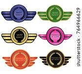 luxury premium golden badge... | Shutterstock .eps vector #764966629