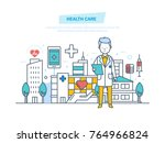 healthcare and medical help.... | Shutterstock .eps vector #764966824