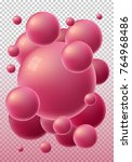 red 3d glossy spheres with... | Shutterstock .eps vector #764968486