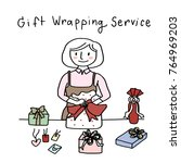 cute woman wrapping several... | Shutterstock .eps vector #764969203