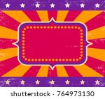 vector retro circus poster with ... | Shutterstock .eps vector #764973130