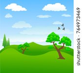 tree in the lawn. cartoon... | Shutterstock .eps vector #764973469