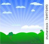 tree in the lawn. cartoon... | Shutterstock .eps vector #764973490
