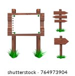 wooden signs collection  vector ... | Shutterstock .eps vector #764973904