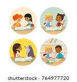 collection of smiling children... | Shutterstock .eps vector #764977720