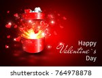 valentine background  open gift ... | Shutterstock .eps vector #764978878