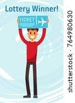 lottery winner man holding... | Shutterstock .eps vector #764980630