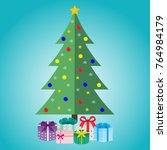 christmas tree with gifts on a... | Shutterstock . vector #764984179
