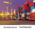forklift handling container box ... | Shutterstock . vector #764986483