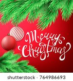 merry christmas postcard with... | Shutterstock .eps vector #764986693