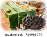kanom krok  thai traditional... | Shutterstock . vector #764989774