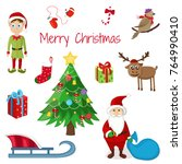 merry christmas. cute character.... | Shutterstock .eps vector #764990410
