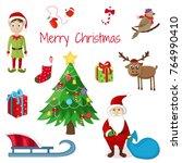 merry christmas. cute character.... | Shutterstock .eps vector #764990410