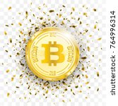 golden confetti with bitcoin on ... | Shutterstock .eps vector #764996314