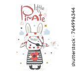 cute little rabbit pirate.... | Shutterstock .eps vector #764996344