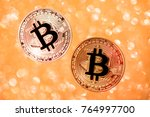 bitcoin. cryptocurrency . gold... | Shutterstock . vector #764997700