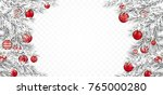frozen twigs with red christmas ... | Shutterstock .eps vector #765000280