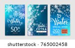 winter poster set. colorful... | Shutterstock .eps vector #765002458