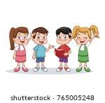 little students kids cartoon | Shutterstock .eps vector #765005248