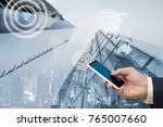 digital alarm icon on city... | Shutterstock . vector #765007660