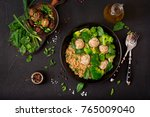 baked meatballs of chicken... | Shutterstock . vector #765009040