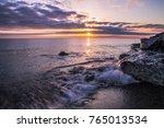 summer sunrise beach landscape.... | Shutterstock . vector #765013534