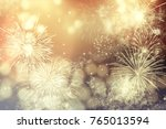 fireworks at new year and copy... | Shutterstock . vector #765013594