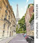 eiffel tower vector sketch.... | Shutterstock .eps vector #765014134