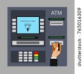 flat design of atm machine with ... | Shutterstock .eps vector #765016309