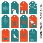 christmas gift tags. new year... | Shutterstock .eps vector #765016846