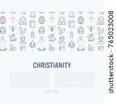 christianity concept with thin... | Shutterstock .eps vector #765023008