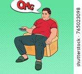 pop art bored fat man watching... | Shutterstock .eps vector #765023098