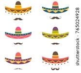 set of mexican hats and... | Shutterstock . vector #765024928