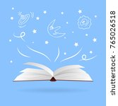 open magic book with fantasies... | Shutterstock .eps vector #765026518