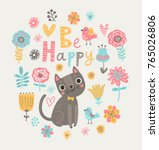cute floral background with cat.... | Shutterstock .eps vector #765026806