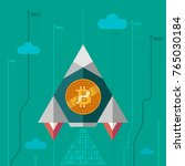 bitcoin rises in price. rocket... | Shutterstock .eps vector #765030184