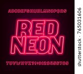neon tube alphabet font. red... | Shutterstock .eps vector #765031606