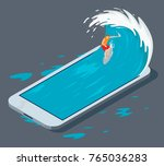 surfer surfing a phone wave... | Shutterstock .eps vector #765036283