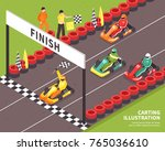 isometric carting composition... | Shutterstock .eps vector #765036610