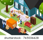 relocation isometric... | Shutterstock .eps vector #765036628