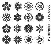 Flower Icons Set on White Background. Vector