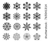 16 silhouettes of snowflakes   | Shutterstock .eps vector #765041314