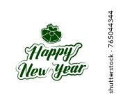 badge happy new year with hand...   Shutterstock .eps vector #765044344