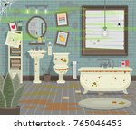 dirty bathroom with toilet sink ... | Shutterstock .eps vector #765046453