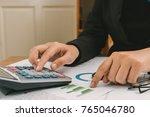 close up hand of businesswoman... | Shutterstock . vector #765046780