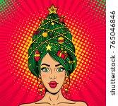 wow pop art christmas female... | Shutterstock .eps vector #765046846