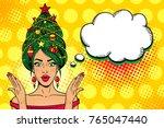 wow pop art christmas face.... | Shutterstock .eps vector #765047440