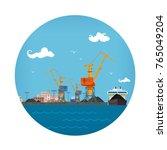 cargo sea port   unloading coal ...   Shutterstock .eps vector #765049204