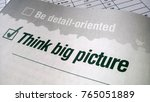 think big picture printed on a... | Shutterstock . vector #765051889