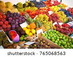 colorful various fruits and... | Shutterstock . vector #765068563